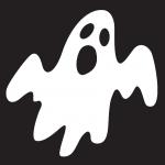 Vitt spöke mot svart bakgrund. Illustration.